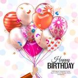 La carte d'anniversaire avec la main tient les ballons colorés Confettis, étoiles, ruban et arc sur le fond pointillé Vecteur Photographie stock