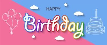 La carte d'anniversaire avec la pince à linge et les lettres colorées accrochent sur la corde Images libres de droits
