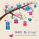 La carte d'anniversaire mignonne Photographie stock libre de droits