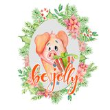 La carte d'aquarelle de Joyeux Noël avec le porc drôle mignon dans la citation florale de guirlande et d'inscription soit gaie illustration stock