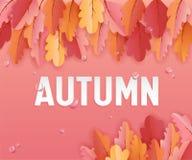 La carte d'Autumn Greeting avec de belles feuilles et pluie se laisse tomber, décoration de disposition de fond avec le papier Ar Image libre de droits