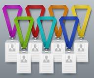 La carte d'identification de bureau badges le calibre de vecteur de lanières de couleur illustration libre de droits