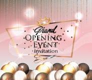 La carte d'invitation d'ouverture officielle avec le ruban bouclé transparent, les ballons à air et l'or serpentent Images libres de droits