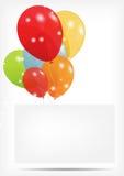 La carte de cadeau avec des ballons dirigent l'illustration Images stock