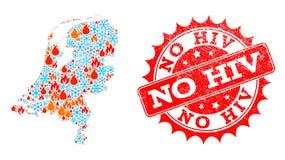 La carte de collage des Pays-Bas de la flamme et la neige et aucun HIV a rayé le timbre illustration stock
