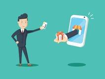 La carte de crédit heureuse d'utilisation d'homme d'affaires à l'achat en ligne et reçoivent un boîte-cadeau du téléphone intelli illustration de vecteur