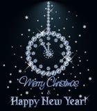 La carte de diamant de Joyeux Noël et de bonne année avec Noël synchronisent, dirigent illustration stock