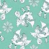 La carte de griffonnages de Joyeux Noël de vintage avec l'oiseau de cigogne a amené le bébé Photo libre de droits