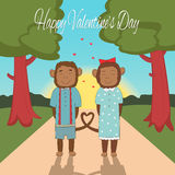 La carte de jour de valentines avec les couples romantiques monkeys l'illustration de vecteur Image stock