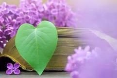 La carte de jour de mères avec la feuille et le lilas en forme de coeur fleurit Photos stock