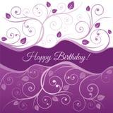 La carte de joyeux anniversaire avec le rose et le pourpre tourbillonne illustration libre de droits