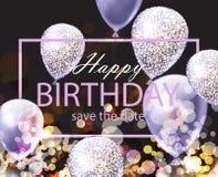 La carte de joyeux anniversaire avec shinny des ballons Vecteur réaliste de fond de fête de partie illustration libre de droits