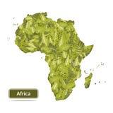 La carte de l'Afrique d'isolement sur le fond blanc, feuilles tracent l'illus de vecteur Photo stock