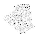 La carte de l'Algérie de la mosaïque polygonale raye le réseau, rayons, illustration de vecteur de points illustration stock
