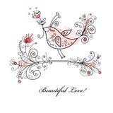 La carte de l'amoureux avec un oiseau et des fleurs Images libres de droits
