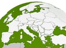 La carte de l'Europe a arqué sur la sphère Image stock