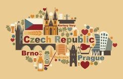 La carte de la République Tchèque Photos stock
