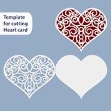 La carte de mariage à jour de papier, forme de coeur, la carte postale de salutation, calibre pour couper, lacent l'imitation, ca illustration libre de droits