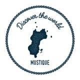 La carte de Mustique dans le vintage découvrent le monde Image libre de droits