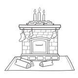 La carte de Noël avec la cheminée a décoré des chaussettes pour des cadeaux Photographie stock libre de droits