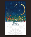 La carte de Noël avec des flocons de neige dans le ciel nocturne, pin s'embranche Image stock
