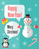 La carte de Noël avec le bonhomme de neige et le pingouin et la parole bouillonne Photos stock