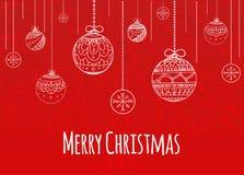 La carte de Noël de salutation avec des boules décorées gribouillent le modèle Photos stock