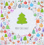 La carte de Noël de salutation avec un bon nombre de Noël objecte Photo libre de droits