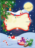 La carte de Noël et de nouvelle année avec le vol retiennent des cerfs communs Photos stock