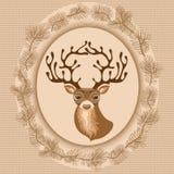 La carte de nouvelle année avec des cerfs communs, branches Image libre de droits