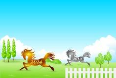 La carte 2014 de nouvelle année de cheval Images libres de droits