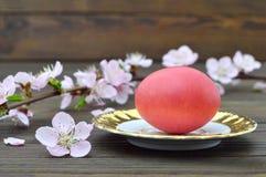 La carte de Pâques heureuse avec l'oeuf et le ressort de pâques rouges s'embranche Photos stock