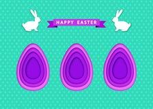 La carte de Pâques heureuse avec les oeufs ultra-violets a coupé du papier illustration libre de droits
