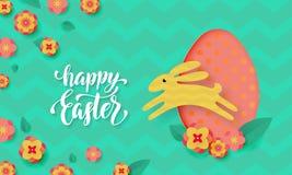 La carte de Pâques de vecteur avec le papier mignon de couleur a coupé l'oeuf de pâques, lapin sautant, lapin et les fleurs de re illustration de vecteur