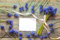 La cartede papier de Blankavec le bouquet du muscari bleu fleurit sur la vieille PA Images stock
