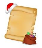 La carte de papier de rouleau de Noël avec le chapeau de Santa et la Santa renvoient, mettent en sac avec des sucreries Illustrat Photos libres de droits