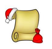 La carte de papier de rouleau de Noël avec le chapeau de Santa, le chapeau et la Santa mettent en sac Image stock