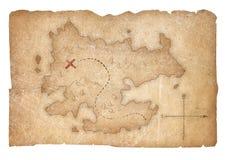 La carte de pirates de trésor d'isolement avec le chemin de coupure a inclus illustration libre de droits