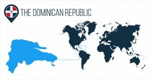 La carte de la République Dominicaine située sur une carte du monde avec le drapeau et l'indicateur ou la goupille de carte Carte illustration libre de droits