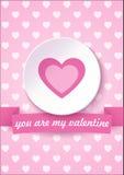 La carte de Saint-Valentin sur un fond rose avec vous sont mon texte de Valentine Illustration de vecteur Photo libre de droits