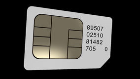 La carte de Sim tournent boucle Alpha chanel rendu 3d clips vidéos