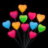 La carte de Valentine avec des ballons de forme de coeur Place pour le texte Photographie stock