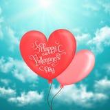 La carte de Valentine avec des ballons en forme de coeur en ciel Images stock