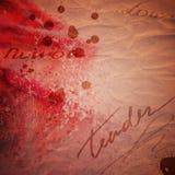 La carte de valentine de cru avec l'absract s'est levée Images libres de droits