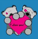 La carte de Valentine. Ours et coeur. Image stock