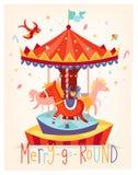 La carte de vecteur avec joyeux vont carrousel de rond Affiche de festival de foire d'amusement illustration stock