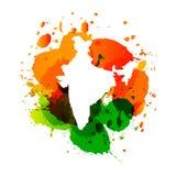 La carte de vecteur de l'Inde avec l'encre colorée éclabousse illustration de vecteur