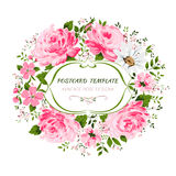La carte de vintage avec des fleurs s'est levée, pivoine, camomille Image stock