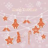 La carte de vintage de Joyeux Noël joue l'arbre de Noël Photos stock