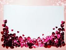 La carte de voeux avec des confettis encadrent le concept b d'amour de jour du ` s de valentine Images libres de droits